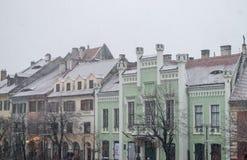 Sibiu, Rumänien - 27. November 2017: Erster Schnee in Sibiu, Rumänien, Stockbilder