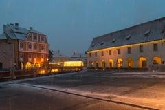 Sibiu, Rumänien - 27. November 2017: Erster Schnee in Sibiu, Rumänien Stockbild