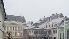 Sibiu, Rumänien - 27. November 2017: Erster Schnee in Sibiu, Rumänien, Stockfotos