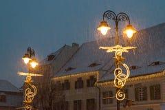 Sibiu, Rumänien - 27. November 2017: Erster Schnee in Sibiu, Rumänien, Stockfotografie