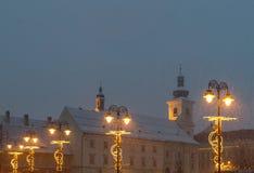 Sibiu, Rumänien - 27. November 2017: Erster Schnee in Sibiu, Rumänien, Lizenzfreie Stockfotos