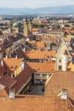 Sibiu, Rumänien, Siebenbürgen erhöhte Stadtbild stockfoto