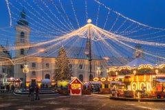Sibiu, Rumunia - 27 2017 Listopad: Boże Narodzenie rynek w Sibiu ma Zdjęcia Royalty Free