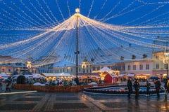 Sibiu, Rumunia - 27 2017 Listopad: Boże Narodzenie rynek w Sibiu ma Obraz Stock