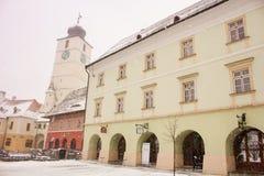 Sibiu sikt från den centrala fyrkanten royaltyfri foto