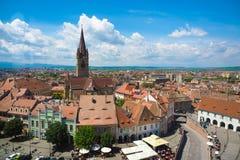 Sibiu skyline, Transylvania, Romania. Panoramic view of the Smal Stock Photos