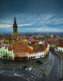 Sibiu, small square view. Aerial view of Sibiu's small square on a cloudy day Stock Photography