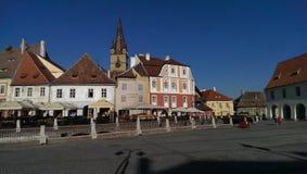 Sibiu stad i Rumänien Fotografering för Bildbyråer