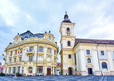 Sibiu-Stadt im Stadtzentrum gelegen Stockfotos