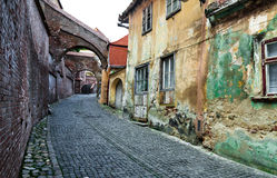 Sibiu, Stairs Passage. Stairs Passage, one of the access ways to fortress in 13th century. Transylvania saxon landmark. Romania Royalty Free Stock Images