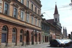 Sibiu street view. Old buildings in Sibiu. Street view Stock Photos
