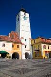 Sibiu - a torre do Conselho fotos de stock royalty free