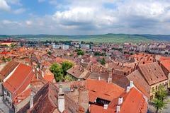 Sibiu Town in Romania. Aerial view of  Sibiu town in Transylvania Romania Stock Images
