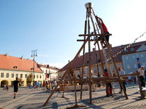Sibiu Transsylvanië middeleeuws Festival royalty-vrije stock fotografie