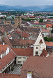 Sibiu Transylvania Romania. Old town Sibiu Transylvania Romania aerial view from the Lutheran Cathedral tower - old town hall (14th century) and Orthodox Royalty Free Stock Images