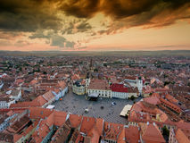 Sibiu Transylvania Romania aerial view at sunset Stock Photos