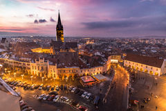 Sibiu Transylvania Romania central square at sunset. Royalty Free Stock Photos