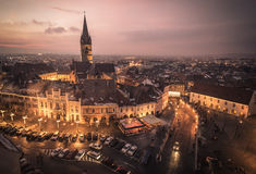Sibiu Transylvania Romania central square at sunset Stock Photos