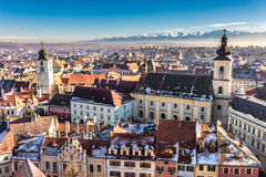 Sibiu, Transylvania, Romania. HDR photo. Panoramic view from abo Royalty Free Stock Images