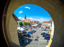 Sibiu, Transylvania, Romania. Daily life in the Small Square (Pi Stock Image