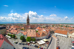 Sibiu, Transylvania, Romania. Panoramic view of the Small Square Stock Photo