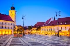 Sibiu, Transylvania, Romania. Sibiu, Romania. Twilight image of Large Square, Transylvania royalty free stock image