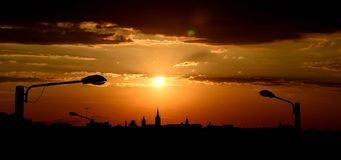 Sunset silhouette in Sibiu Stock Photography