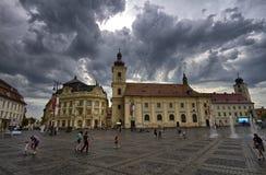 Sibiu tusen dollarfyrkant royaltyfria foton