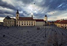 Sibiu tusen dollarfyrkant fotografering för bildbyråer
