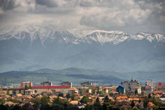 Sibiu-view from atop. Sibiu,Romania-The European Cultural Capital in 2007.view from atop;Fagaras mountains in background Royalty Free Stock Image