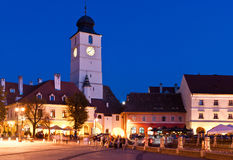 Sibiu - vista di notte Immagini Stock Libere da Diritti