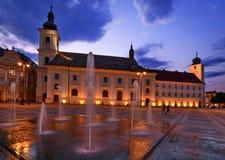 Sibiu - vista di notte - la Romania Fotografia Stock
