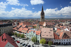 Sibiu visto da torre do Conselho Fotos de Stock
