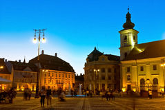 Sibiu - vue de nuit Photographie stock libre de droits
