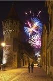 Sibiu vuurwerk royalty-vrije stock afbeeldingen