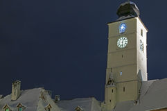 Sibiu in winter. Romania, Council tower around Christmas time Royalty Free Stock Images