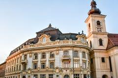 SibiuHermanstadt, Ρουμανία τη νύχτα στοκ φωτογραφίες με δικαίωμα ελεύθερης χρήσης