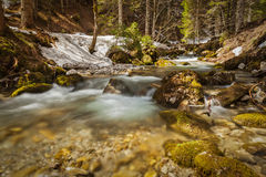 Sibli-Wasserfall小瀑布。Rottach-Egern,巴伐利亚,德国 免版税库存照片
