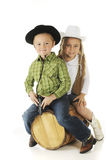 Sibling Cowpokes Royalty Free Stock Photos