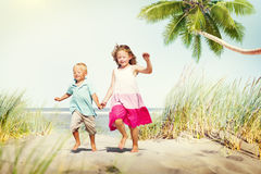 Sibling Happiness Summer Beach Vacations Concept Royalty Free Stock Images