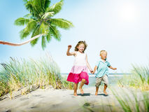 Sibling Happiness Summer Beach Vacations Concept Stock Images