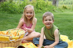 Sibling Picnic Stock Images