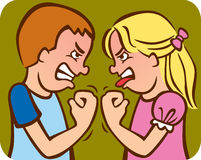 Sibling Rivalry. Illustration of a brother and sister arguing/fighting with each other Stock Photo