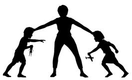 Sibling rivalry silhouette. Editable vector silhouette illustration of a mother holding a young brother and sister apart with figures and toys as separate Royalty Free Stock Photos