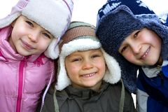 Sibling Winter Portrait Stock Photo