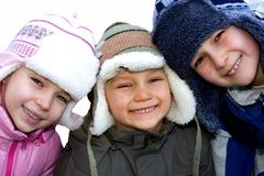 Sibling Winter Portrait 2 Royalty Free Stock Photos