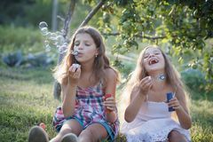 Siblings blowing soap bubbles Royalty Free Stock Image