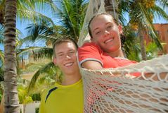 Siblings in Cancun Royalty Free Stock Photo