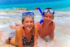 Siblings in Cancun Royalty Free Stock Photography