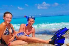 Siblings on Cancun beach Stock Photo